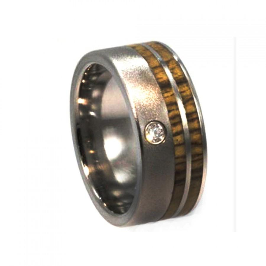 Свадьба - Wood Ring Wedding Band, Titanium Ring, Bezel Set Diamond, Bocote Wood Ring, Wooden Wedding Band, Ring Armor Included