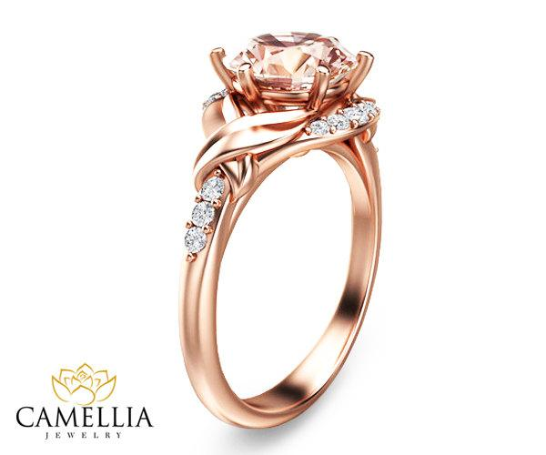 Hochzeit - 14K Rose Gold Morganite Ring Morganite Engagement ring Rose Gold Ring Unique Engagement Ring