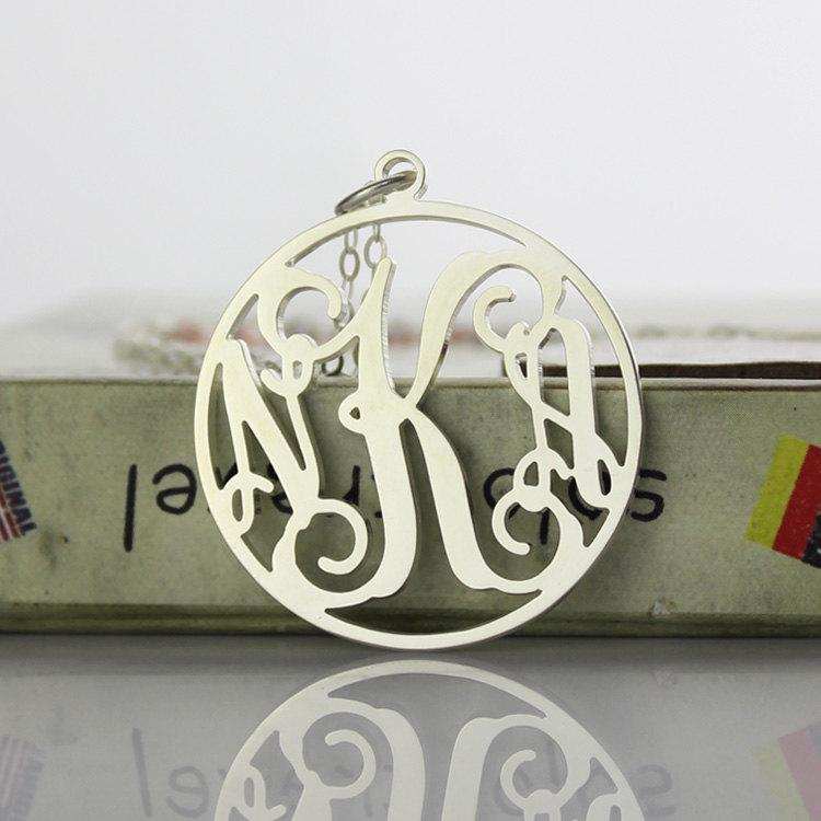 Wedding - 925 Sterling silver personalised monogram necklace - gifts for men - valentines gifts for him