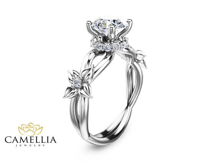 Flower Design Diamond Engagement Ring In 14K White Gold Unique Diamond Bridal