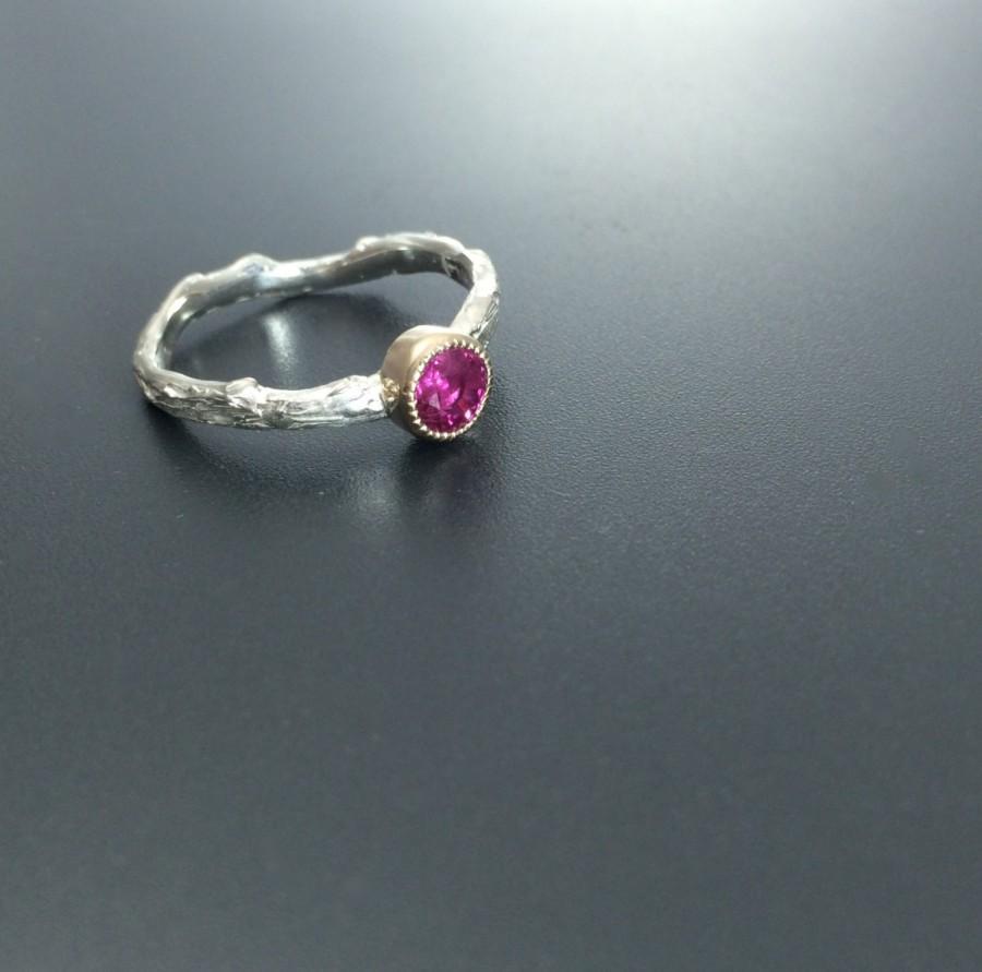 زفاف - Rustic engagement ring Ruby ring branch ring Alternative engagement ring