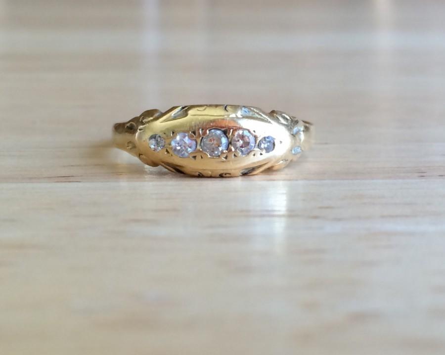 زفاف - Diamond Wedding Band - Vintage Art Deco 18kt Yellow Gold Ring - Size 7 3/4 Sizeable Anniversary Engagement Antique Fine Stacking Jewelry