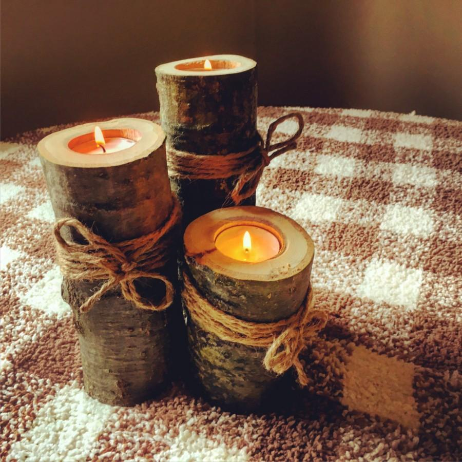 Wooden candle holders rustic wedding decor wooden log for Rustic wood candle holders