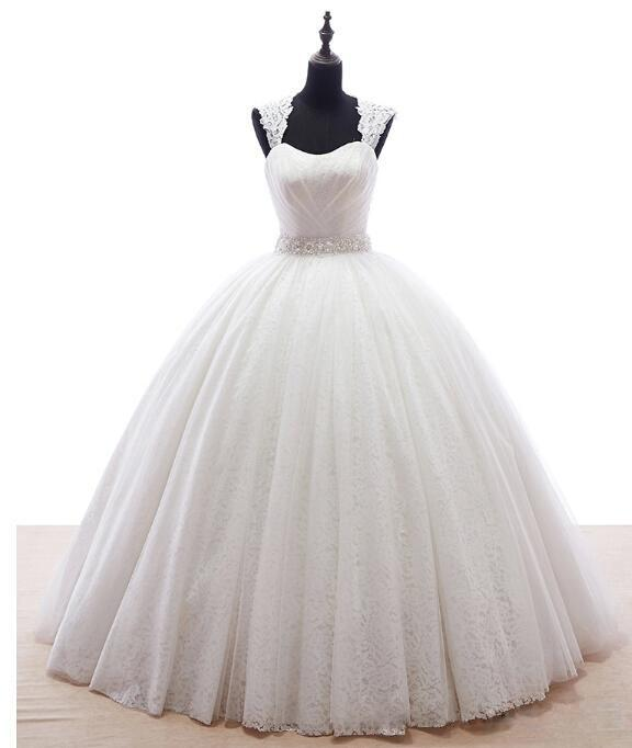 Wedding - 2016 Sexy Lace Crystal Beading Wedding Dresses Plus Size Capped Sleeve Bridal Gowns Floor Length Real Image Ball Gown Online with $104.21/Piece on Hjklp88's Store
