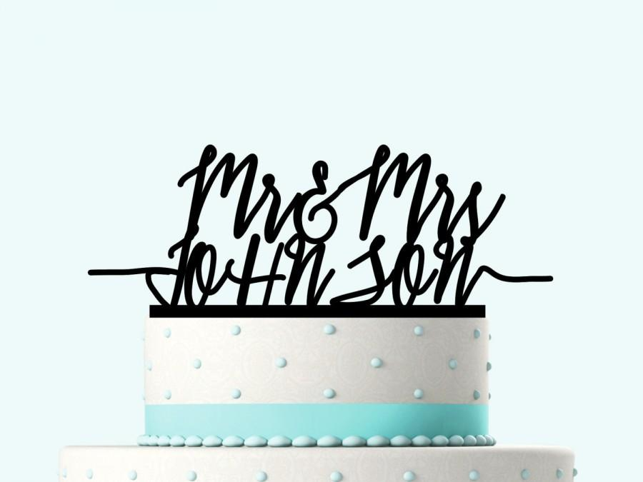 Свадьба - Traditional Last Name Wedding Cake Toppers with Date, Personalized Wedding Cake Topper, Custom Mr and Mrs Wedding Cake Toppers