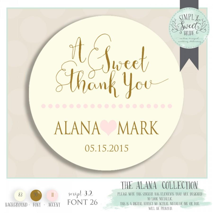 "زفاف - Wedding favor sticker perfect on boxes & bags. Comes in Color of Choice. Size 2"" Round. A SWEET THANK YOU. Alana collection in Pink Gold"