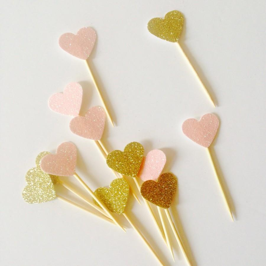 Свадьба - Pack of mini baby pink & gold glitter mini heart, valentines topper, wedding toppers, gold heart topper, party, engagement toppers