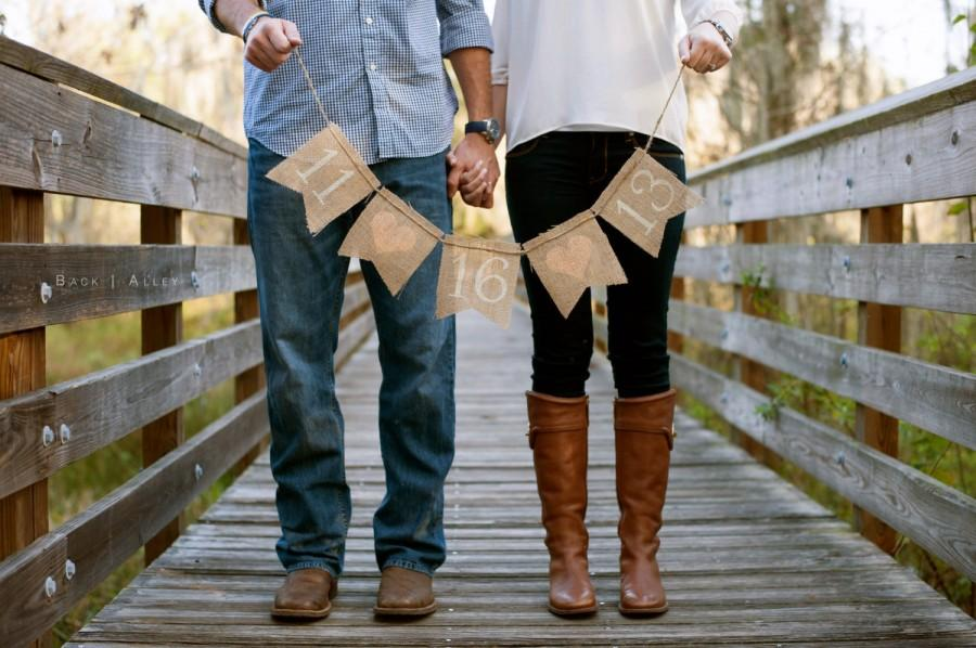 Wedding - SAVE THE DATE burlap banner - save the dates - Wedding Banner - engagement pictures - Peach hearts - Photography prop