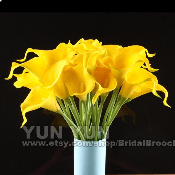 Calla Lily Yellow 20pcs Latex Real Nature Touch Flowers Bridal