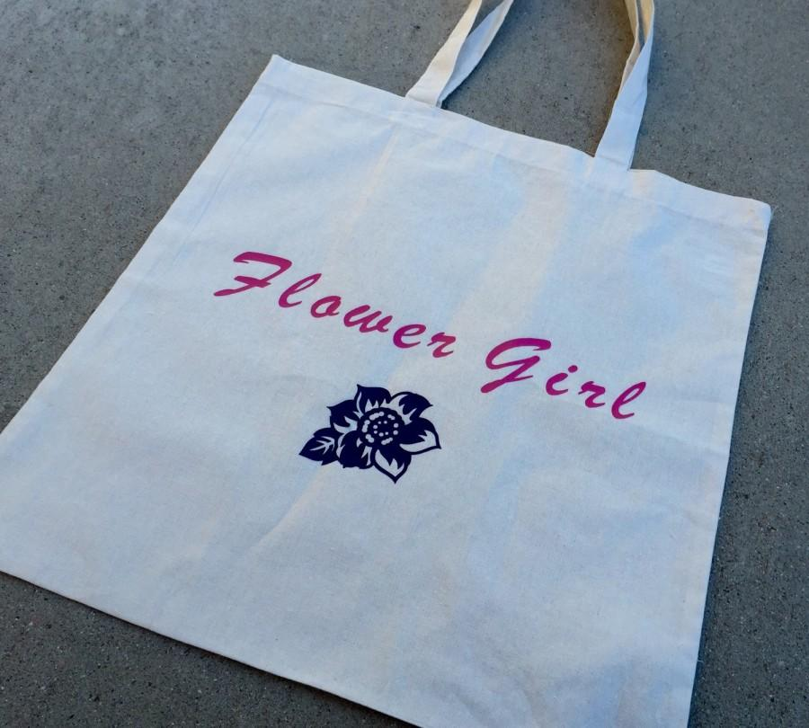 Свадьба - Flower girl tote bag, flower girl gift, custom flower girl tote, beach wedding flower girl tote, flower girl gift bag