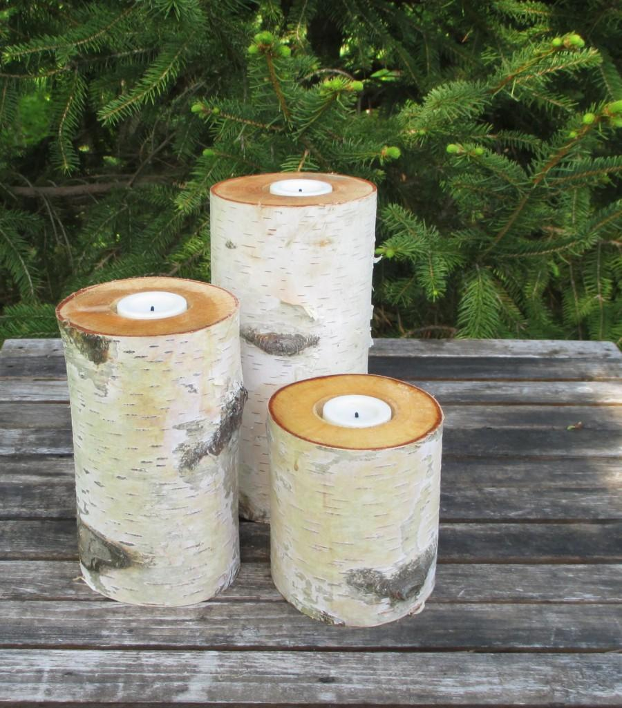 "Wedding - Birch FLAMELESS  Candle Holders Electric Tea Lights  8"",6"",4""  Wedding Centerpieces, LED Battery Tea Lights, Bridal Showers, Garden Party"