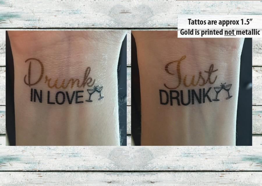 Свадьба - Bachelorette Party Temporary Tattoos Bachelorette Tattoos - Drunk in love, Just Drunk - Wedding Tattoo - Bachelorette Favor - Gold