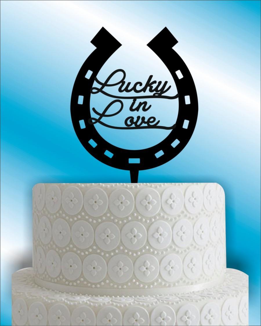 Hochzeit - horseshoe Wedding Cake Topper, monogram wedding cake topper, unique weddimg cake topper, Bridal shower  cake topper,lucky in love cake decor