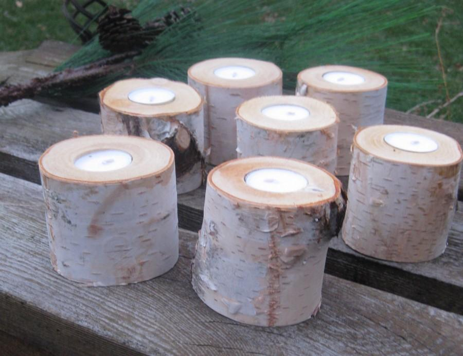 "Свадьба - 15  2"" Birch Candle Holders for Weddings, Bridal Showers, Garden Party"