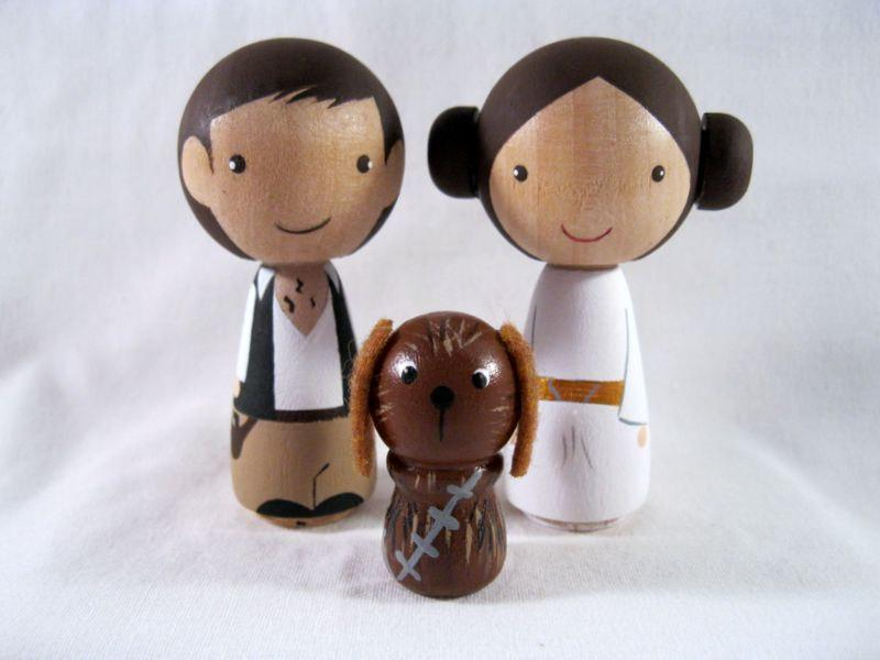 Свадьба - Kokeshi Princess Leia Han Solo Chewbacca Dog Peg Doll collectable