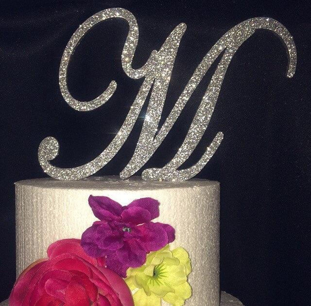 Свадьба - Glitter Cake Topper. Monogram Cake Topper. Cake Topper. Wedding Topper. Birthday Cake Topper. Cupcake Topper. Glitter. Glitter Cake.