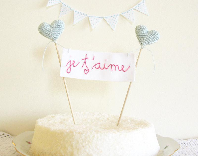 Свадьба - Wedding Cake Topper, Je T'aime Sign, Soft Mint Blue, French Cake Banner, Hearts on Cake