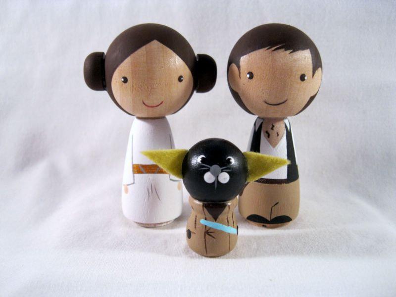 Wedding - Kokeshi Princess Leia Han Solo Yoda Cat Peg Doll collectable
