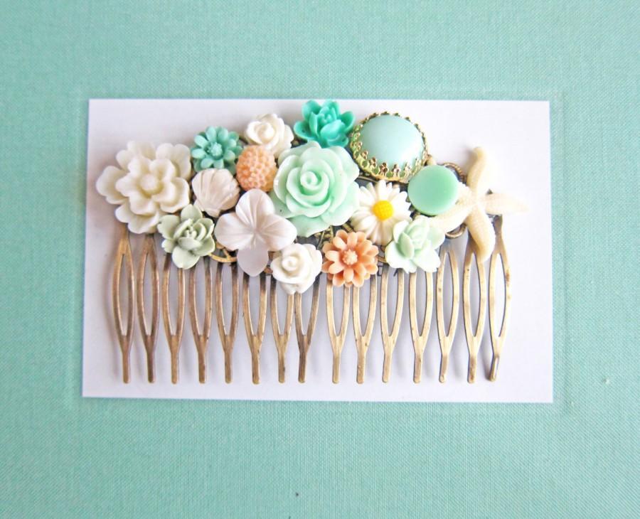 Mariage - Wedding Hair Comb Bridesmaids Hair Comb Mint Green Bridal Hair Piece Beach Wedding Starfish Head Piece Maid of Honor Gift