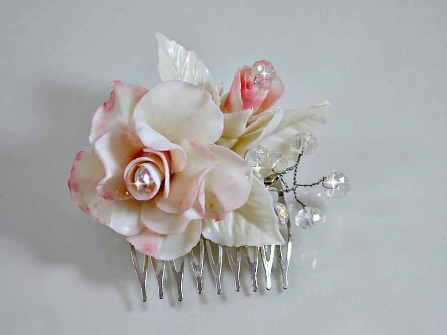 Mariage - Wedding hair flower, Pink rose hair comb, Vintage inspired floral headpiece, Bridal hair flower Garden wedding hair piece, Bride accessories