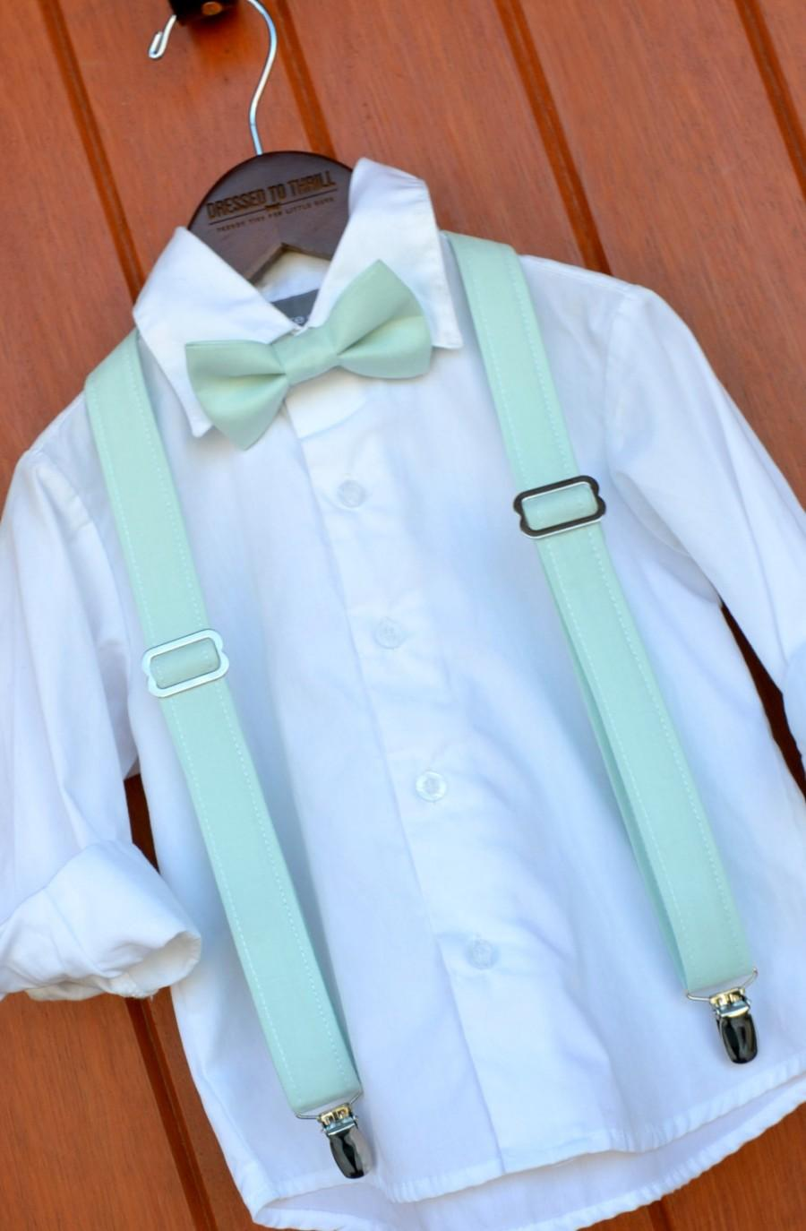 Свадьба - David's Bridal Mint Bowtie & Suspenders, Little Boy Mint Bowtie and Suspenders, David's Bridal Mint ringbear outfit, Mint bow tie braces