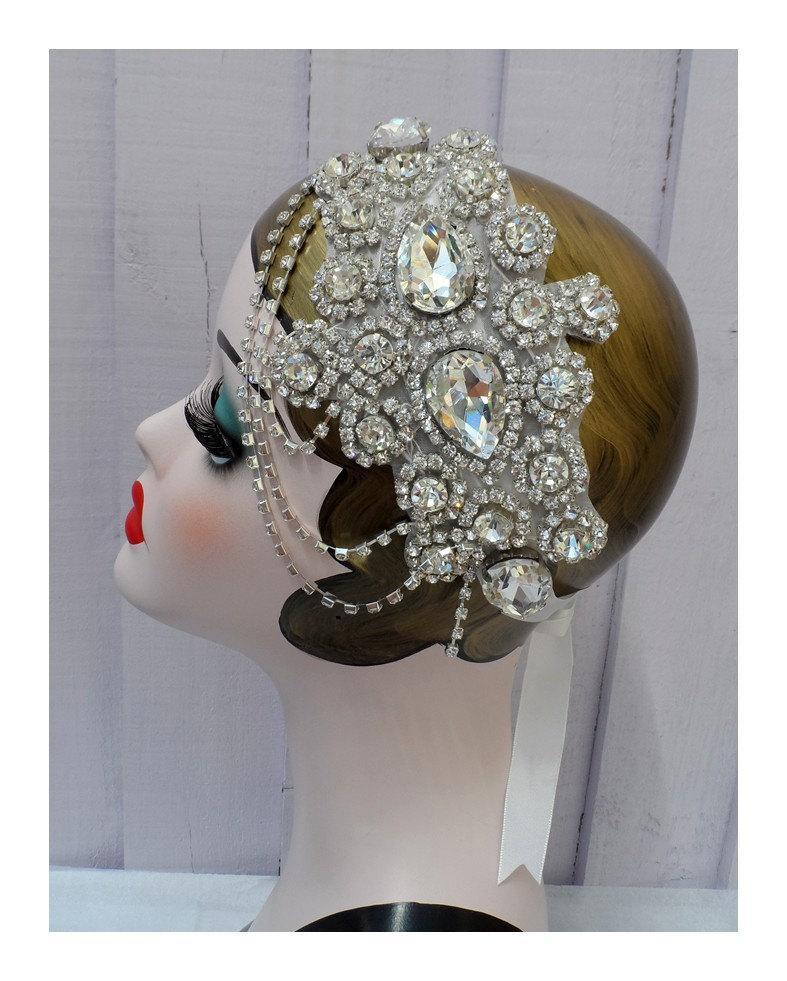 Mariage - Roaring 20s flapper great gatsby daisy charleston birthday rhinestone bridal hair wedding ball party headpiece headband present gift