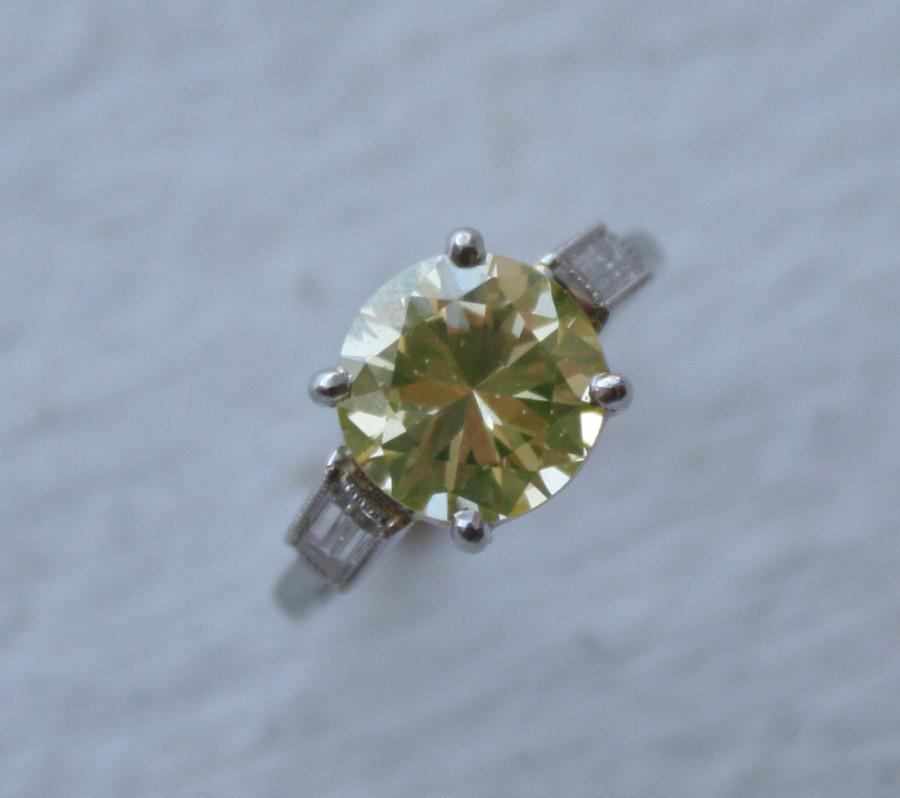 زفاف - Art Deco 2.81 ct Round Briliant Cut Fancy Yellow Diamond Ring GIA Certified - BB1011B