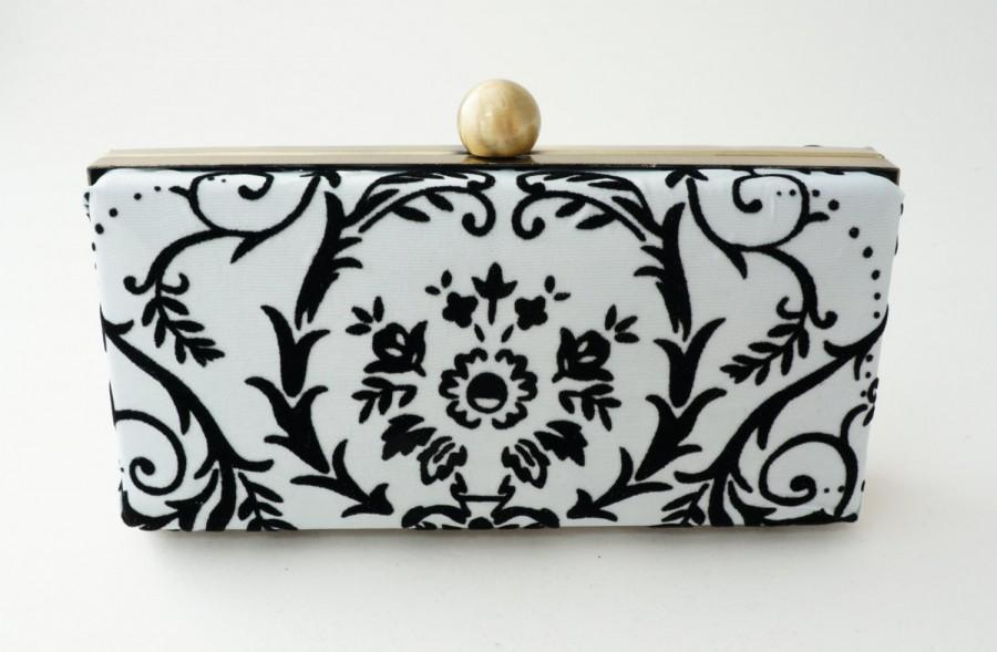 Hochzeit - Gorgeous Off White & Black Box Clutch - Velvet Damask - Minaudière - Evening/Prom/Formal Clamshell Purse - Made to Order
