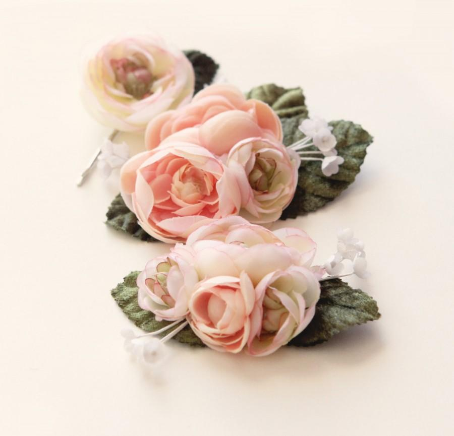 Mariage - Pastel flower clip set, Ranunculus hair clips, Pink flower headpiece, bridal hair accessory, wedding flower clips, Pink green, spring garden