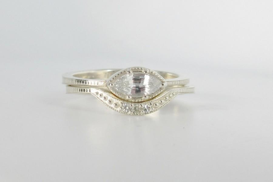 Свадьба - Marquise ring sterling silver White Sapphire Marquise Vintage Inspired  East to West sideways engagement wedding set