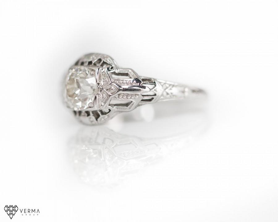 Свадьба - Antique Engagement Ring 0.85cttw I VS2 Old Miner Diamond, 1925s, ATL #219
