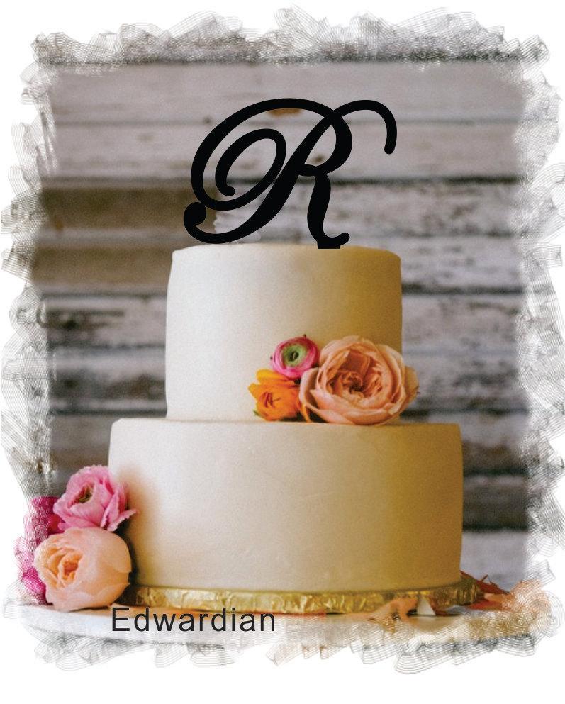 "Свадьба - Monogram Wedding Cake Topper - 5""or 6"" Beautiful Single Monogram letter Cake Topper ( Special Custom Made Initial Wedding Topper )"