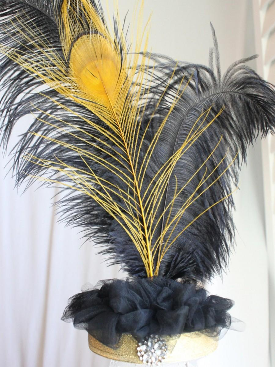 Wedding - Gatsby black and gold feather cake topper