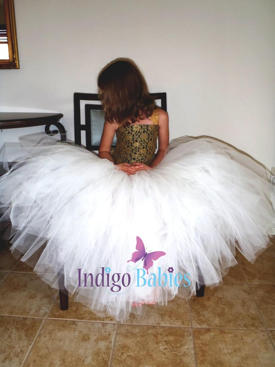 زفاف - Flower Girl Dress, Weddings, Tutu Dress, Ivory Tutu, Black Satin, Gold Lace, Reception, Vintage, White Ballerina, Bridesmaid Tutu, Wedding