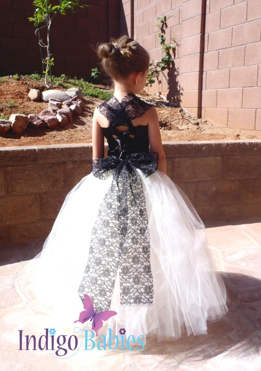 Boda - Flower Girl Dress, Weddings, Tutu Dress, Ivory Tutu, Black Lace, Satin Top, Reception, White Ballerina, Bridesmaids Tutu, Wedding