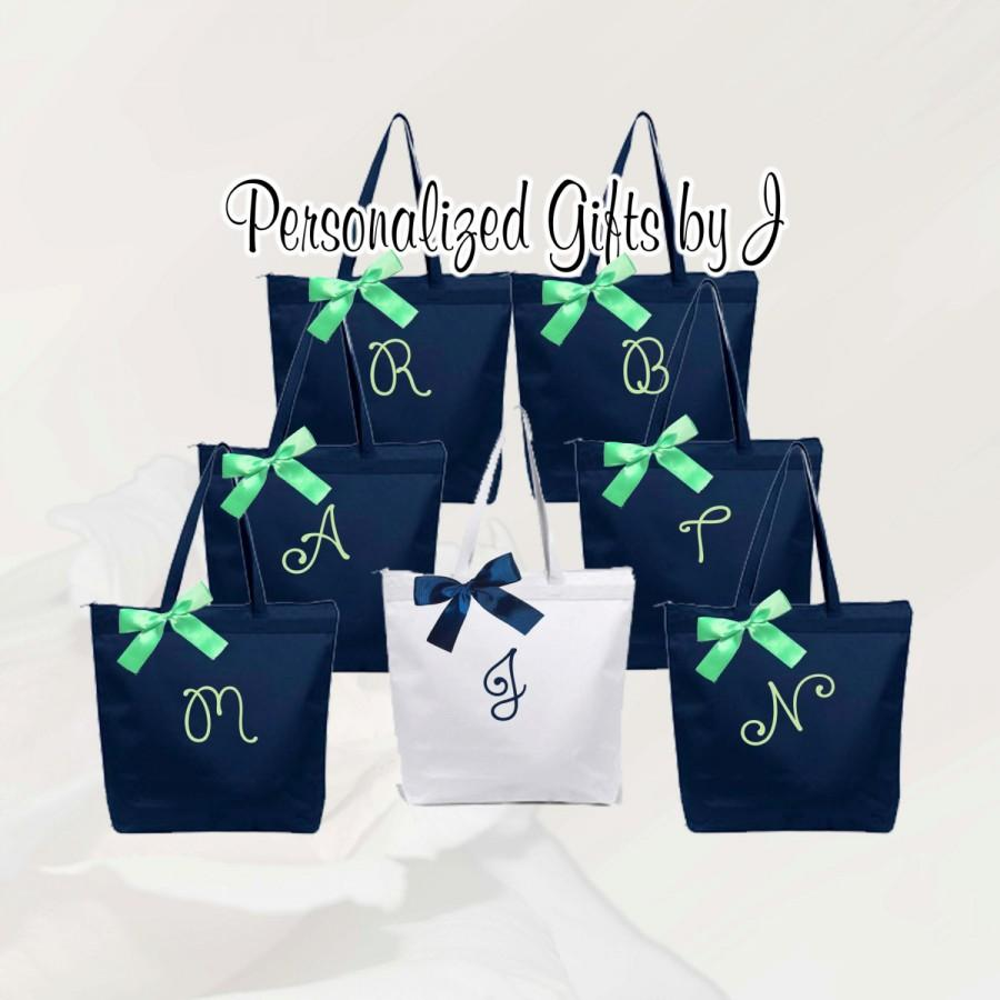 Mariage - Personalized Zippered Tote Bag Bridesmaid Gift Set of 4- Bridesmaid Gift- Personalized Bridemaid Tote - Wedding Party Gift - Name Tote-
