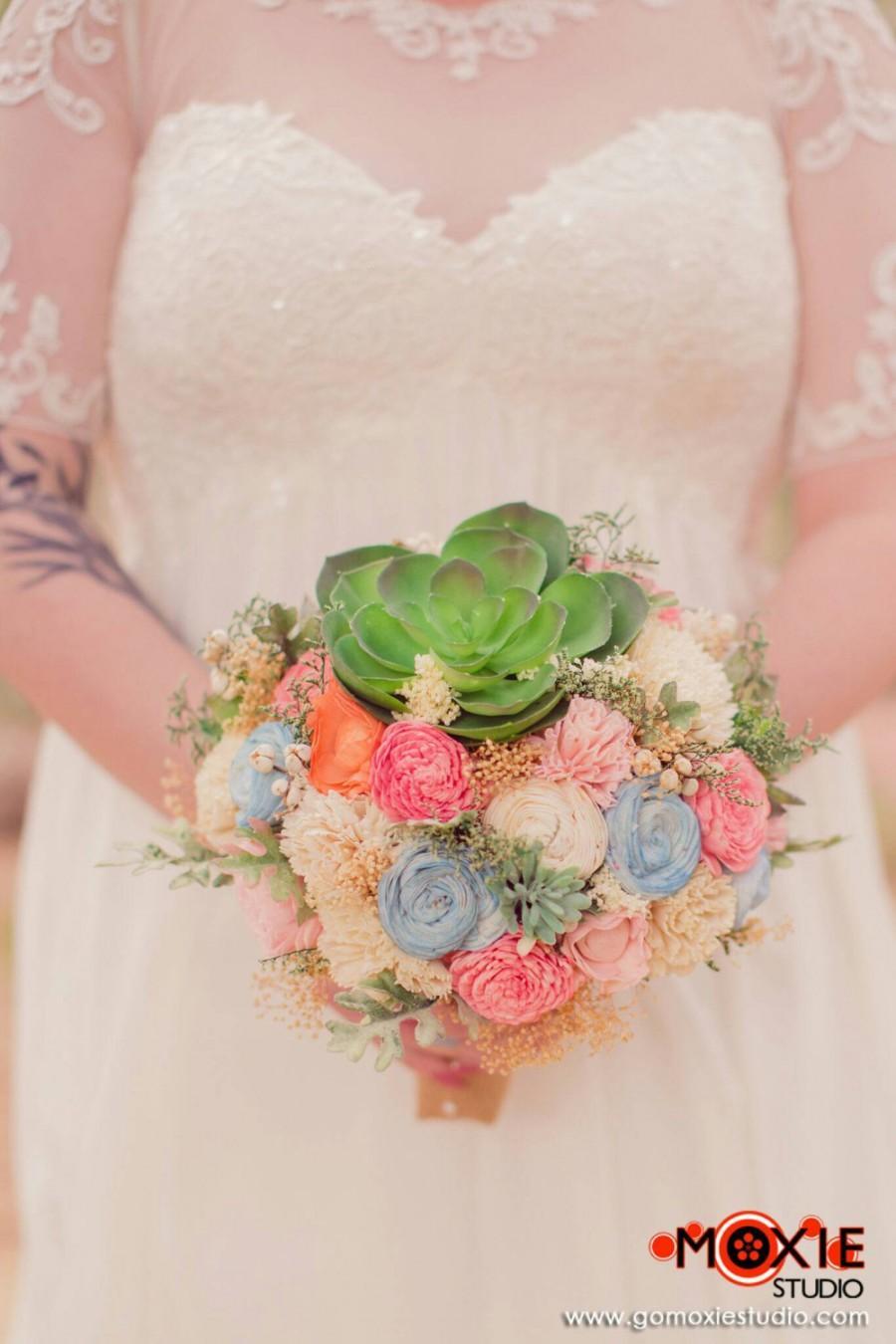 Hochzeit - Alternative Bridal Bouquet - Succulents, Dusty Miller, Sola Flowers, Keepsake Bouquet, Sola Bouquet, Rustic Wedding