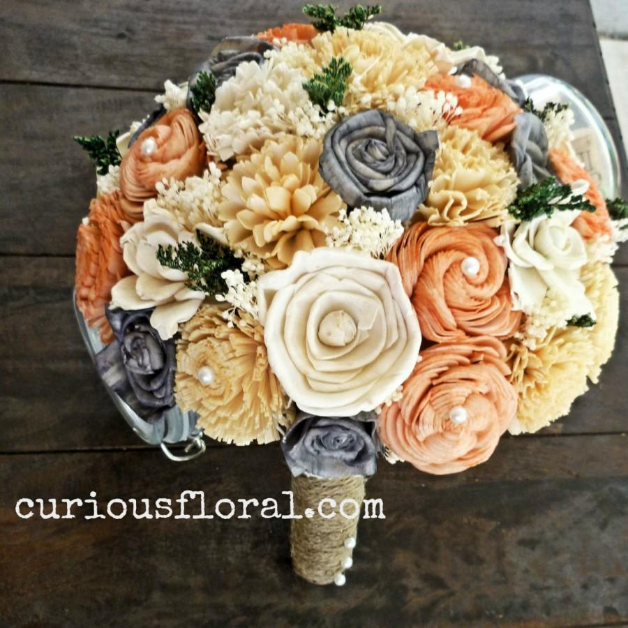 Mariage - Handmade Natural Alternative Wedding Bouquet - Peach Gray Ivory Bridal Bridesmaid Bouquet, Sola Flower Bouquet, Keepsake Bouquet
