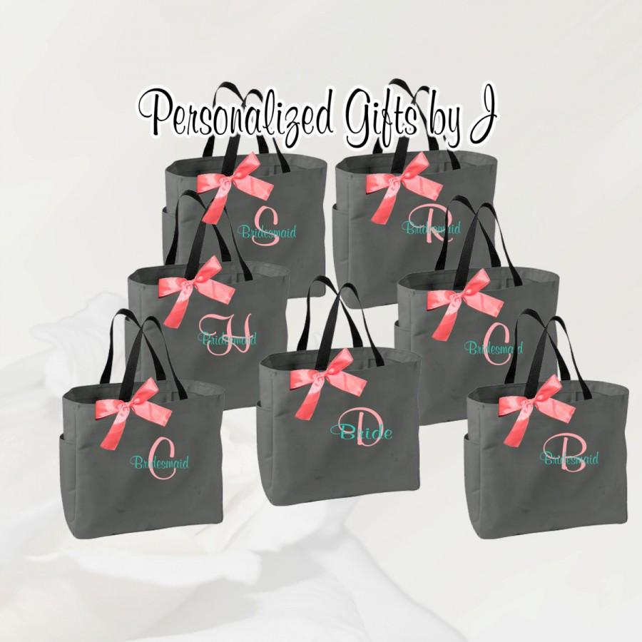 Mariage - 8 Personalized Bridesmaid Gift Tote Bag- Bridesmaid Gift- Personalized Bridemaid Tote - Wedding Party Gift - Name Tote-