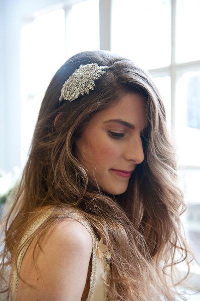 Bridal Diamante Side Headband Hairband Headdress Silver Beaded Wedding Headpiece Headbands