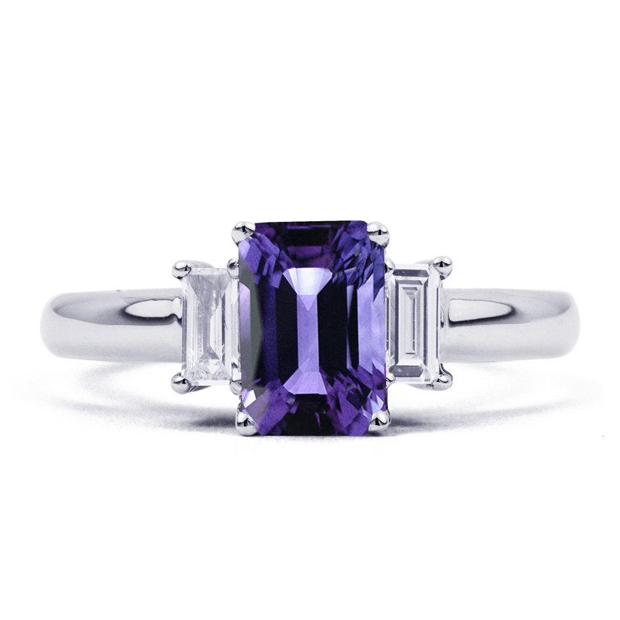 Свадьба - 18ct White Gold Tanzanite & Diamond Engagement Ring Emerald 0.22ct 2.5mm