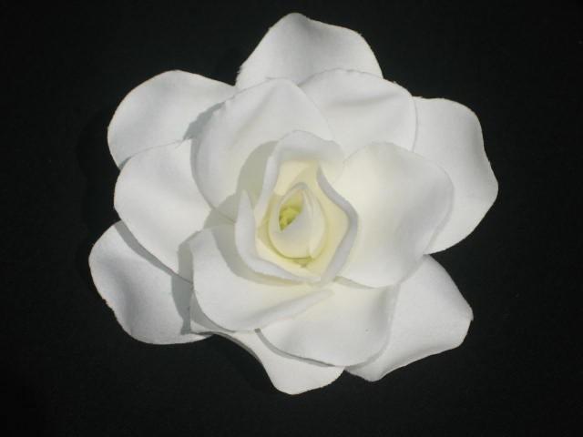 Mariage - White Gardenia Hair Clip - Retro Glam Wedding Prom Rockabilly