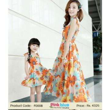 9b87ea1046ff2 Orange Mother Daughter Matching Summer Dresses #2507052 - Weddbook