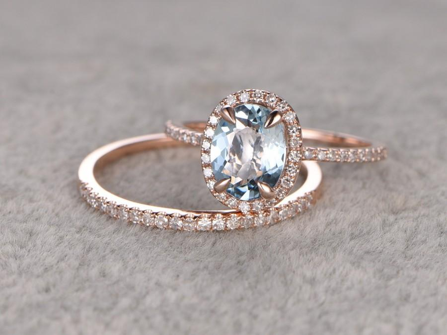 زفاف - 2 Aquamarine Ring Bridal Set,Engagement ring Rose gold,Diamond wedding band,14k,6x8mm Oval Cut,Blue Gemstone Promise Ring,Matching Band