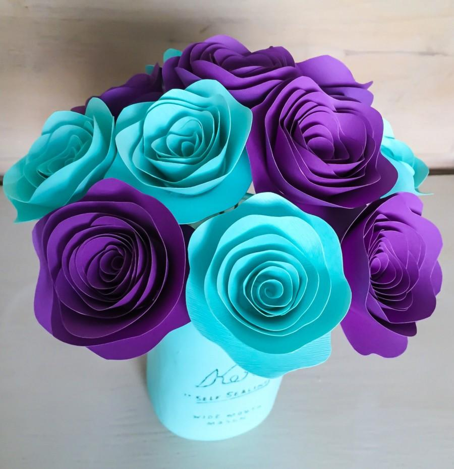 Mariage - Paper Flowers - Stemmed - Purple - Aqua - Aquamarine - Centerpieces - Wedding Flowers - Home Decor - Baby shower Decor - Rose - With Stems