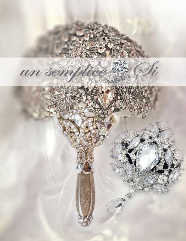 Wedding - Brooch for Bouquet ,Customized Colors, Pendant Brooch