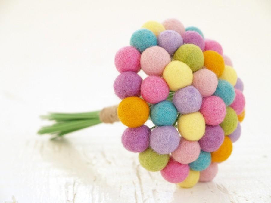 Wedding - Pastel Wedding Bouquet Bridal, Pink Blue Yellow Green Craspedia Flowers, Needle Felt, Everlansting, Billy Button Balls Bride Handmade