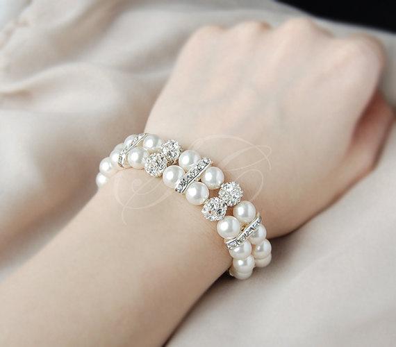 Свадьба - Bridal Pearl Bracelet Wedding Jewelry Wedding Cuff Bracelet Swarovski Pearls Cubic Zirconia Bling Rhinestone Classic B02