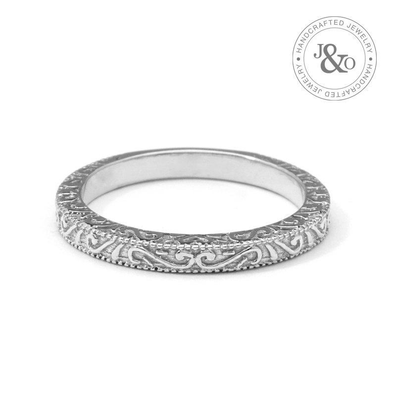 White Gold Vintage Wedding Ring