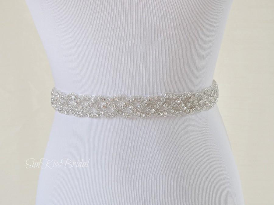 Brianna Braided Rhinestone Bridal Sash Beaded Crystal Sash
